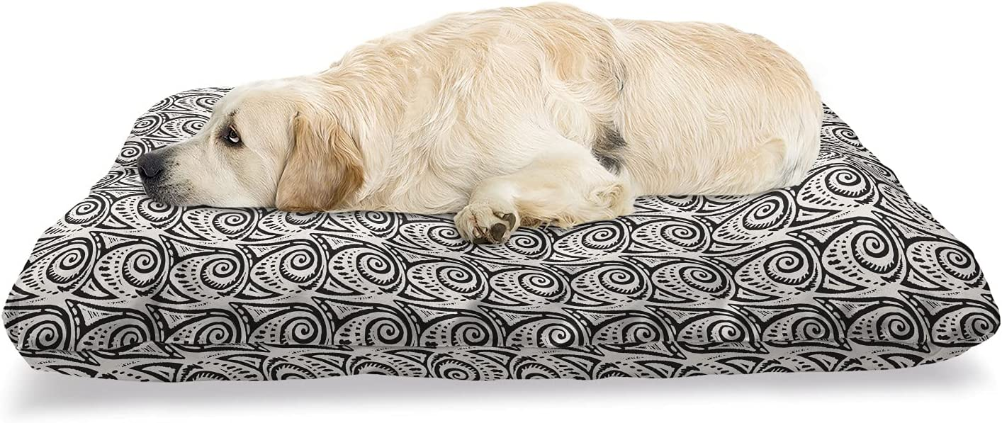 Ambesonne Ethnic Pet Bed Tribal Pattern with New mail order excellence Funky Swirling Tra