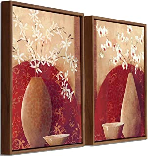 Painting Mantra Floral Theme Framed Canvas Painting Set of 2 Wall Art Print-13x17 inch