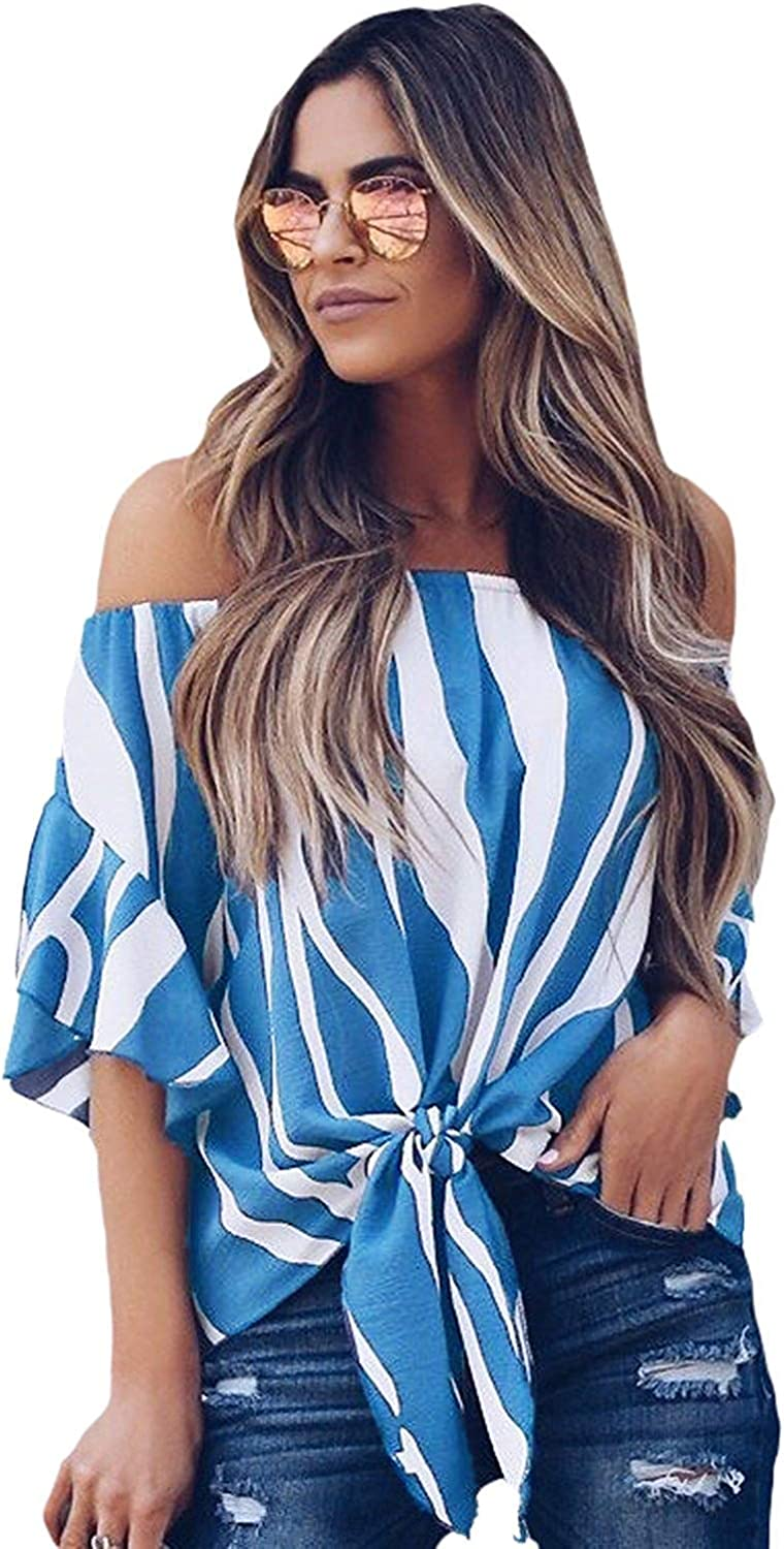 SUNNY Store Women's Casual Striped 3 4 Bell Sleeve Tops Off Shoulder Blouse Front Tie