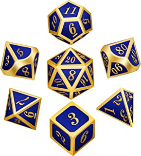 Bememo Polyhedral Metal Dices Set Zinc Alloy with Enamel Solid Metal for DND Game, Tabletop RPG, Dungeons and Dragons, Math Teaching, 7 Pieces Dice Set with Black Velvet Bag (Golden Blue)