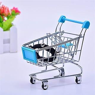 赤ちゃんふりのおもちゃスーパーマーケットの手トロリーミニショッピングカートデスクトップの装飾貯蔵玩具ギフトドールハウス家具アクセサリー (Color : Sky Blue)