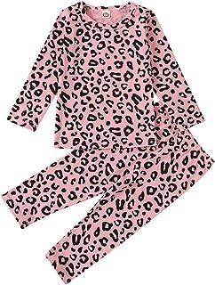 ملابس نوم للأطفال الصغار الرضع الفتيات أزياء ليوبارد طباعة كم طويل وسروال 2 قطعة