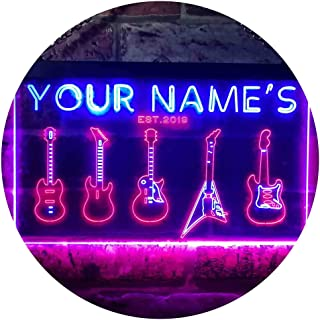 Personalized Your Name Est Year Theme Guitar Hero Room Decoration Dual Color LED Neon Sign Red & Blue 600 x 400mm st6s64-q...
