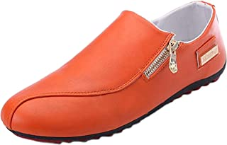 WUIWUIYU Mens Casual Fashion Zipper Oxfords Shoes Slip-On Loafers Comfort Driving Flats Moccasins