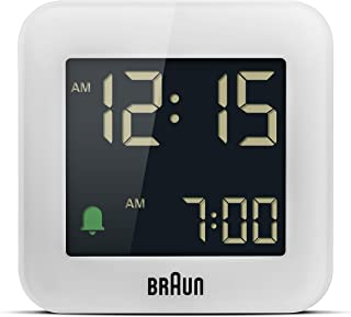 ساعة منبه ديجيتال للسفر مع سنوز، حجم صغير، شاشة ال سي دي سلبية، مجموعة سريعة، منبه كريسيندو أبيض موديل BC08W