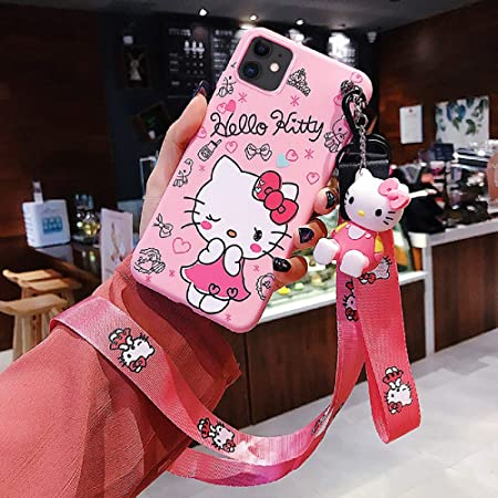 "iPhone 11 Case Hello Kitty Silicone Phone Case Cartoon Cover Case for iPhone 11 6.1"" with 2 Lanyard, 1 Cell Phone Stand for Girls"