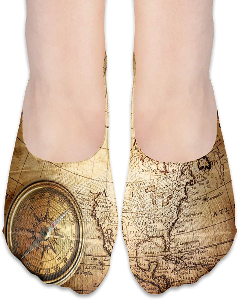 No Show Socks Women Men For Compass Rope Vintage Map Flats Cotton Ultra Low Cut Liner Socks Non Slip