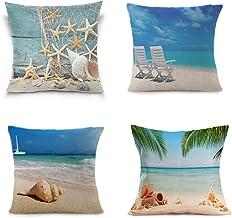 LEIOH Home Decor 4 Pack Summer Decor Cotton Linen Sea Conch Starfish Beach Decor Pillow..