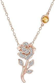 Enchanted Disney Fine Jewelry Diamond Belle's Rose Pendant 1/10ctw