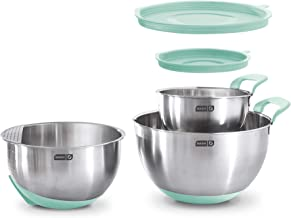 Dash Stainless Steel Mixing Lids, Silicone Non-Slip Base with Measuring Lines and Strainer, 3 Bowl Set, 1.5, 3, 5 Quart, Q...
