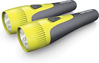 Rayovac LED Flashlight 2 Pack, Comfort Grip Flash Light Set with Batteries Included - Perfect for Power Outages, Emergency Situations, Camping, Hiking, Dog Walking, Blue & Orange (2 Pack)