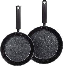 Carote Nonstick Frypan Cookware Set, 8'' Nonstick Skillet+9'' Nonstick Skillet, 2 Pcs Nonstick Skillet Set (Bäsik, Black)