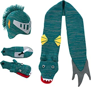 Green Dragon Knight Soft Hat/Scarf/Mitten Set for Boys With Puppet Dragon Mouth
