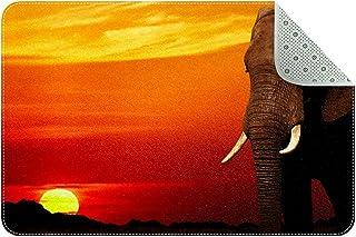Doormat Custom Indoor Welcome Door Mat, African Elephant at Sunset Home Decorative Entry Rug Garden/Kitchen/Bedroom Mat No...