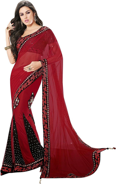 INMONARCH Womens Fantastic Dark Red and Black Half N Half Saree SSA8015