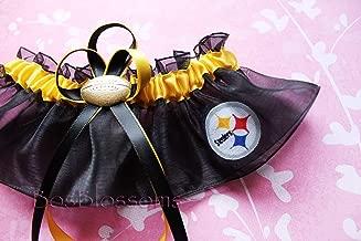 Customizable - Pittsburgh Steelers black fabric handmade into garter on black organza bridal prom wedding keepsake garter with football charm