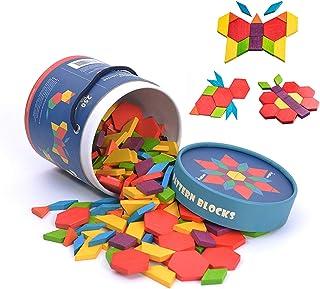ハッピークローバー お子様用 知育玩具 【図形の基礎を訓練】 立体的な形づくり 持ち運び可 【作れるパターンは無限大】 カラフル パターンブロック 250ピース