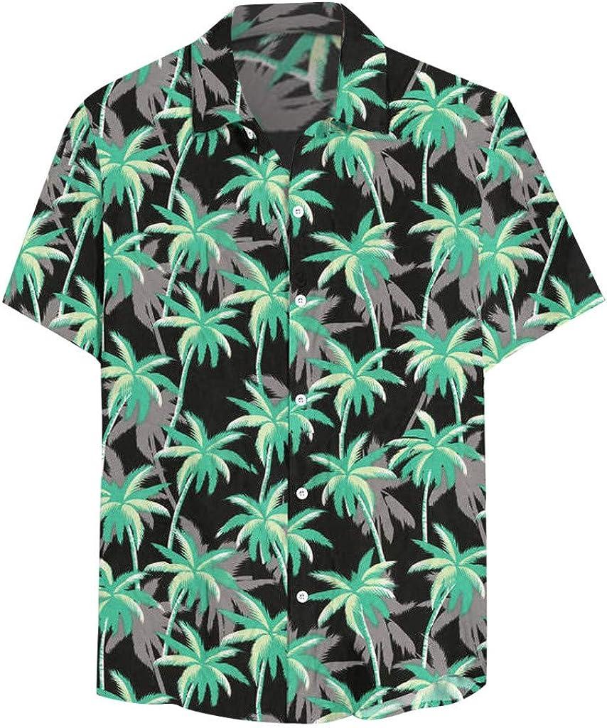 Amober Man Blouse 3/15 Sleeve,Men's Summer Casual Hawaii Short Sleeve Tropical Print Button Down T-Shirt Top
