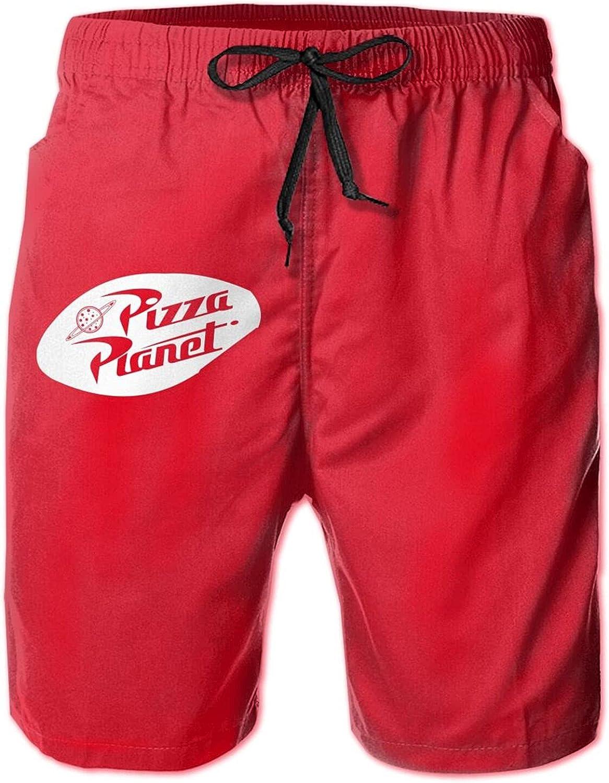 MOSINIAN Pizza Planet Men's Beach Shorts Mens Cotton Loungewear Mens Swim Shorts Drawstring Beach Casual