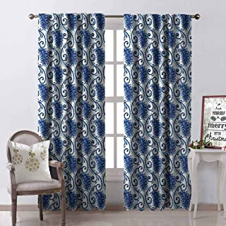 Gloria Johnson Paisley 99% Blackout Curtains Vintage Eastren Inspired Design with Flowers Ivy Leaves and Dots Nature Artwork for Bedroom Kindergarten Living Room W52 x L54 Inch Blue and White