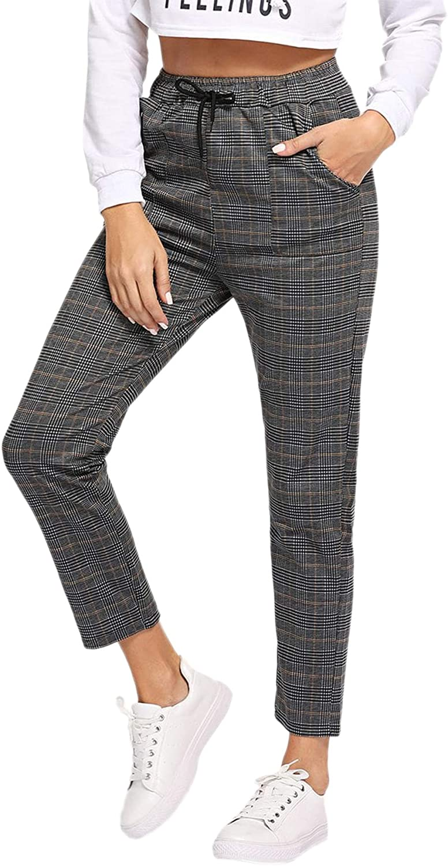 Milumia Women's Casual Plaid Tie Drawstring Mid Waist Pants Trousers
