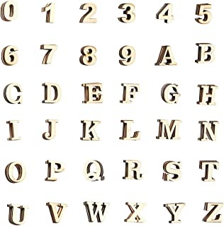 Wooden Letters - 144-Count Wood Alphabet Letters and Numbers for DIY Craft, Home Decor, Natural Color, Medium