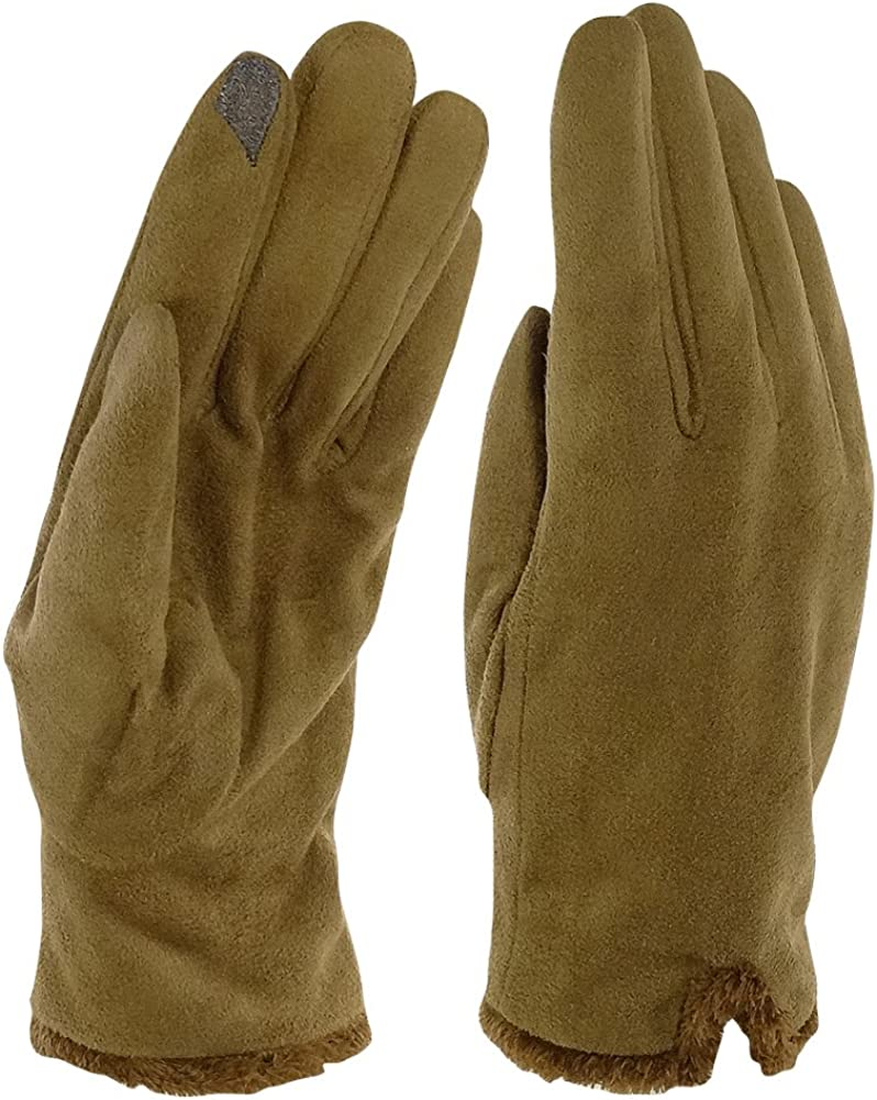 Isotoner Women's Microsuede with Back Vent Gloves - Microluxe Lined - Luggage - Size L