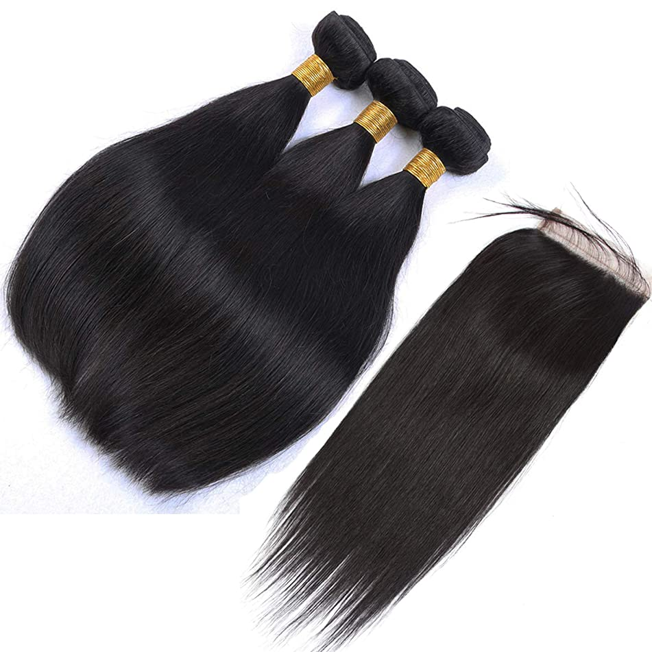 Straight Malaysia Human Hair Bundles With Closure 8-28inch Natural Color Hair Extension 3 Hair Weft With 44 Lace Closure,10 10 10 & Closure8,Natural Color,Three Part