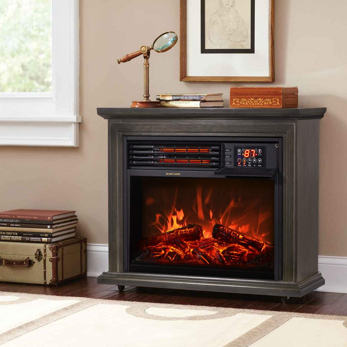 XtremepowerUS 1500W Infrared Quartz Heater Large discharge sale Fireplace Electric Milwaukee Mall Fr