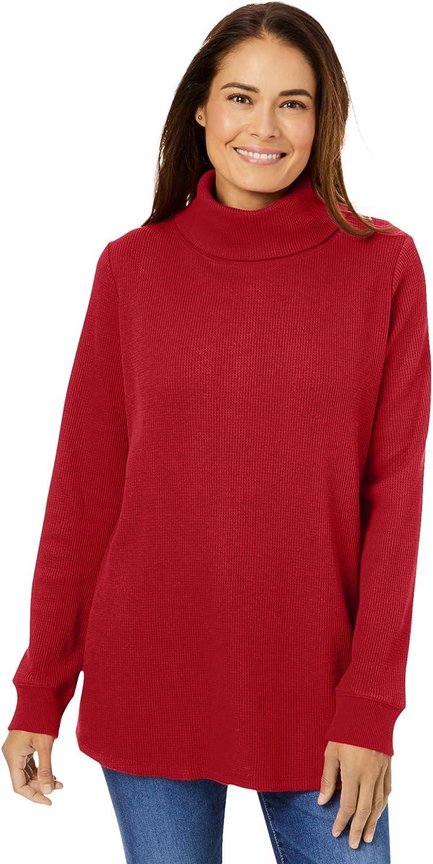 Woman Within Women's Plus Size Thermal Waffle Turtleneck Long Underwear Top