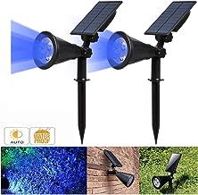 Solar Spotlight, IP65 Waterproof 4 LED Solar Lights Wall Light,Auto-on/Off Security Light Landscape Light 180° Angle Adjustable for Tree,Patio,Yard,Garden,Driveway,Pool Area.T-SUNUS(2 Pack Blue)
