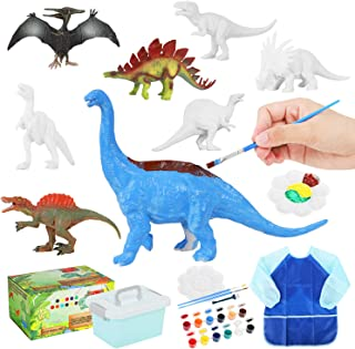 Auney Enfants Kit de Peinture de Dinosaure, Dinosaure Moulage Dinosaure Figurines Peindre Jouet pour Enfant Garcon