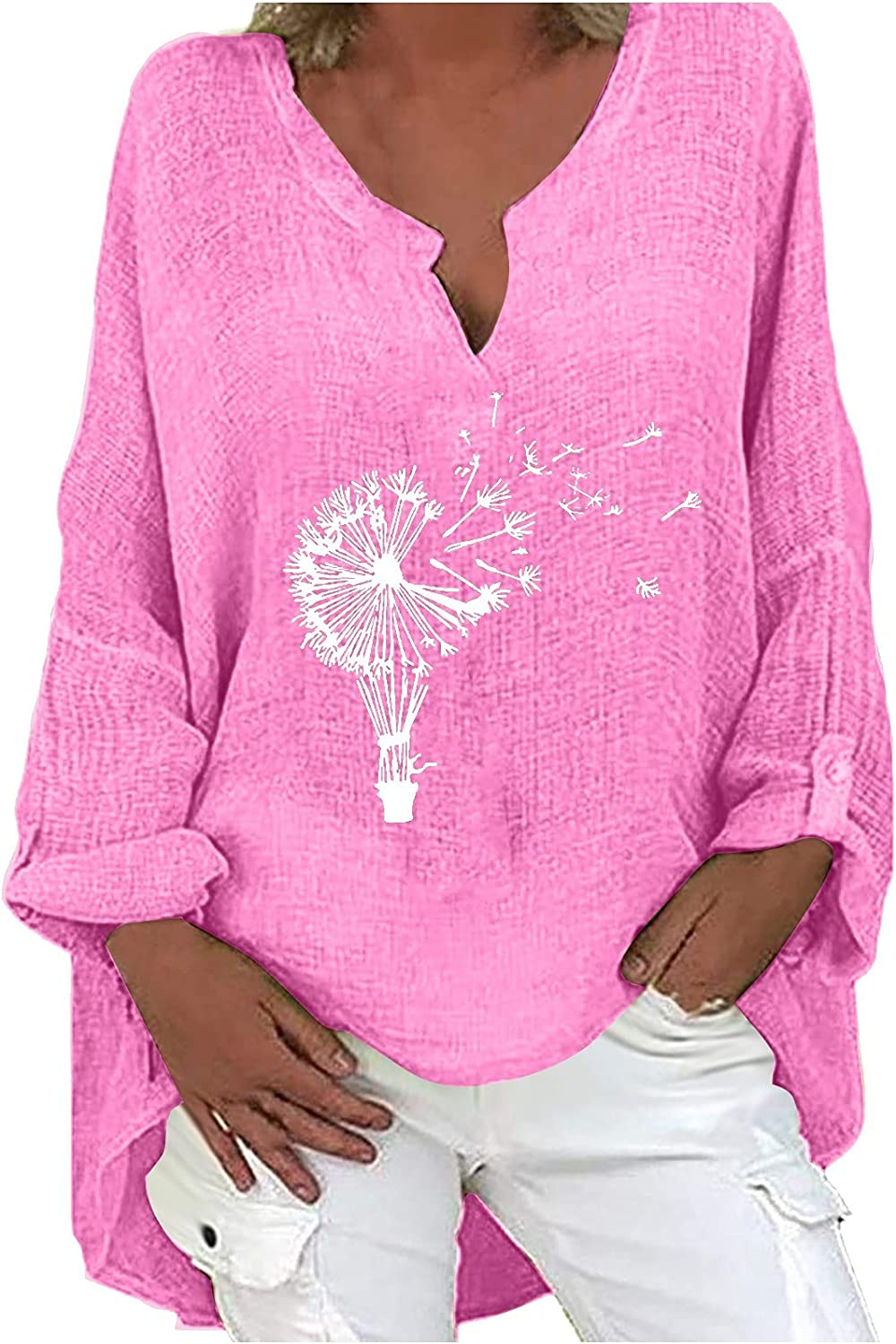 Plus Size Tops for Women V-Neck Long Sleeve T-Shirts Dandelion Printing Blouses Cotton and Linen Loose Tees