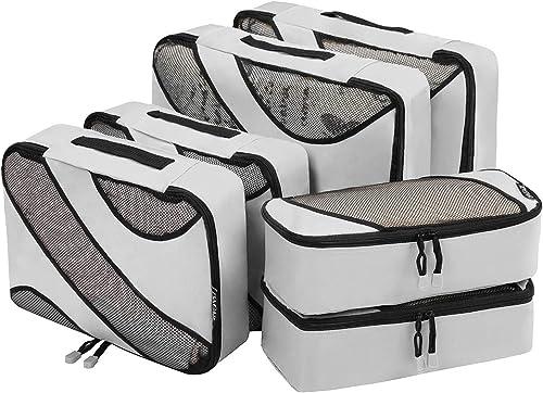 Bagail 6 Set Packing Cubes,3 Various Sizes Travel Luggage Packing Organizers Grey