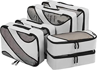 6 Set Packing Cubes,3 Various Sizes Travel Luggage Packing Organizers Grey