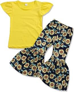 Toddler Girls Sunflower Outfits Ruffle Sleeve Top Sunflower Bell-Bottom Pants Summer Clothing Set