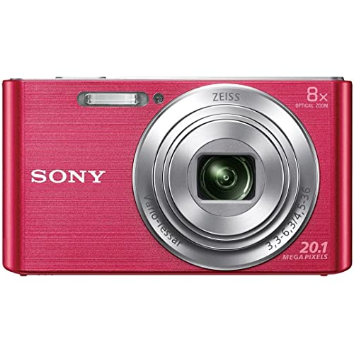 Sony CyberShot DSC W830 20.1 MP Point and Shoot Camera (Pink) with 8X Optical Zoom, Memory Card and Camera Case