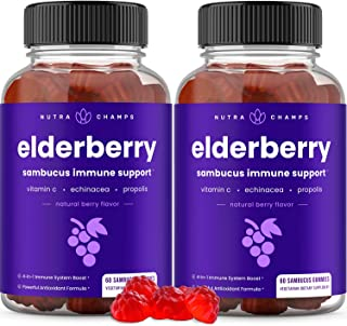 (2 Pack) Elderberry Gummies with Vitamin C, Propolis & Echinacea - Immune System Support Gummy...