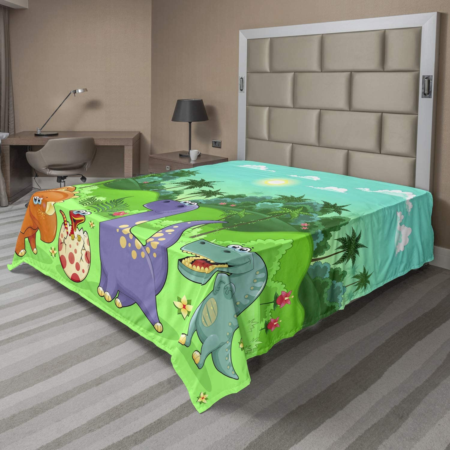 Ambesonne latest Cartoon Flat Sheet Funny Tropical Rainf Superior and Dinosaurs