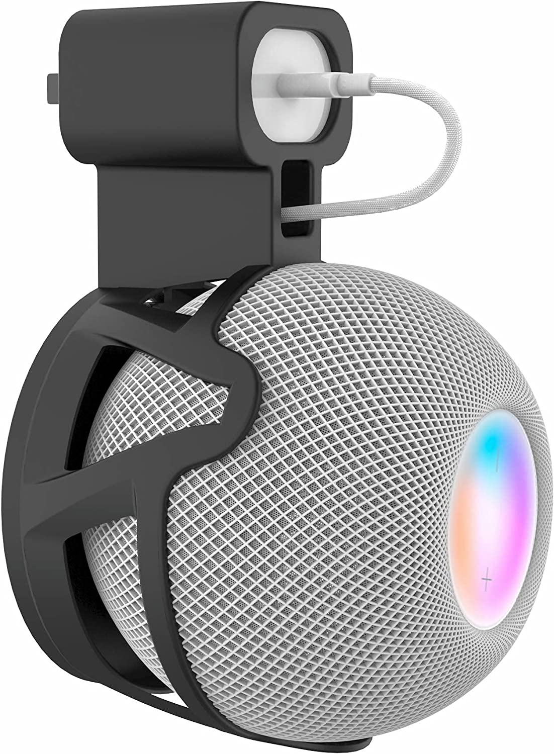 Ouligei Top-Notch Quality Homepod Mini Speaker Wall Mount (Black/White) with in-Built Cable Management System, No Screws or Drill Needed, Bracket for Homepod Mini - an Elegant Space Saving Accessory