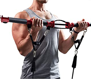 TENSION TONER - Compact Workout Bar with Built-in Resistance • 70+ Full Body Exercises to Build Strength & Muscle Definition • Folds for Storage for Travel or Storage • Patented Home Gym