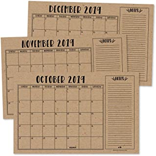 Rustic 2020 Large Monthly Desk or Wall Calendar Planner, Big Giant Planning Blotter Pad, 18 Month Academic Desktop, Hanging 2-Year Date Notepad Teacher, Mom Family Home Business Office 11x17