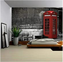 wall26 - British Phone Booth in London, United Kingdom - Removable Wall Mural | Self-Adhesive Large Wallpaper - 66x96 inches