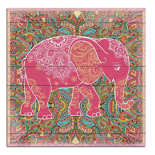 Cuadros Lifestyle Wandbild aus Holz | Holzbild | Shabby-Look | Landhaus | Elefant | Vintage | Geschenk, Größe:ca. 50x50 cm