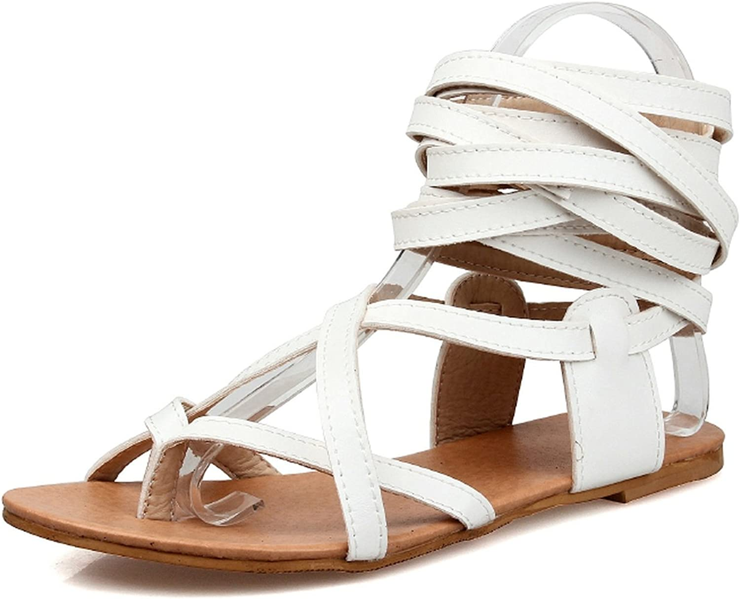 Nerefy New Big Size 30-50 Ankle Wrap Women Sandals Gladiator Leisure Flat Heels Woman Beach shoes