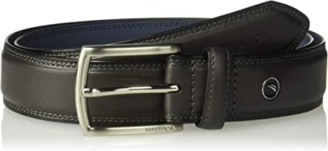 Nautica Men's Feathered Edge with Double-Stitch Casual Leather Belt