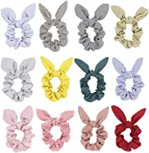 Hair Scrunchies Bow Elastic Ties - Blended Cotton Striped Bunny Ear Scrunchie Women Ponytail Accessories Pack of 12