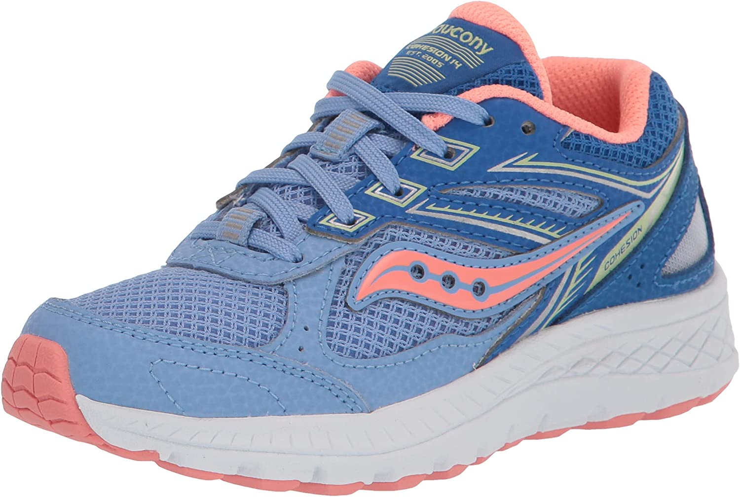 Saucony Cohesion 14 LACE to Toe Running Shoe, Blue/Coral, 3.5 US Unisex Big Kid
