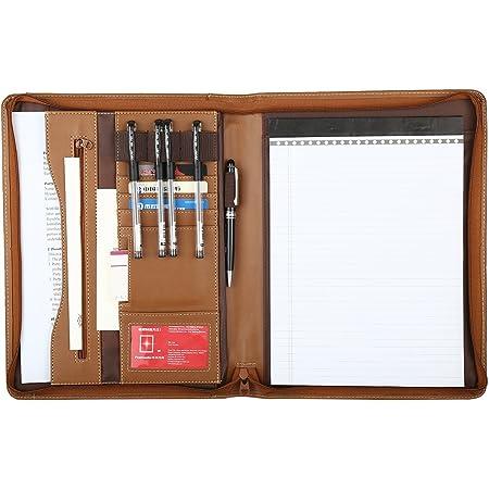 Leathario - Carpeta de archivos, tamaño A4, libreta de escritura, carpeta de presentación empresarial (Brown-A4-2)
