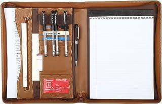 Leathario A4 File Folder Padfolio Writing Pad Business Presentation Folder Portfolio (Brown-A4-2)